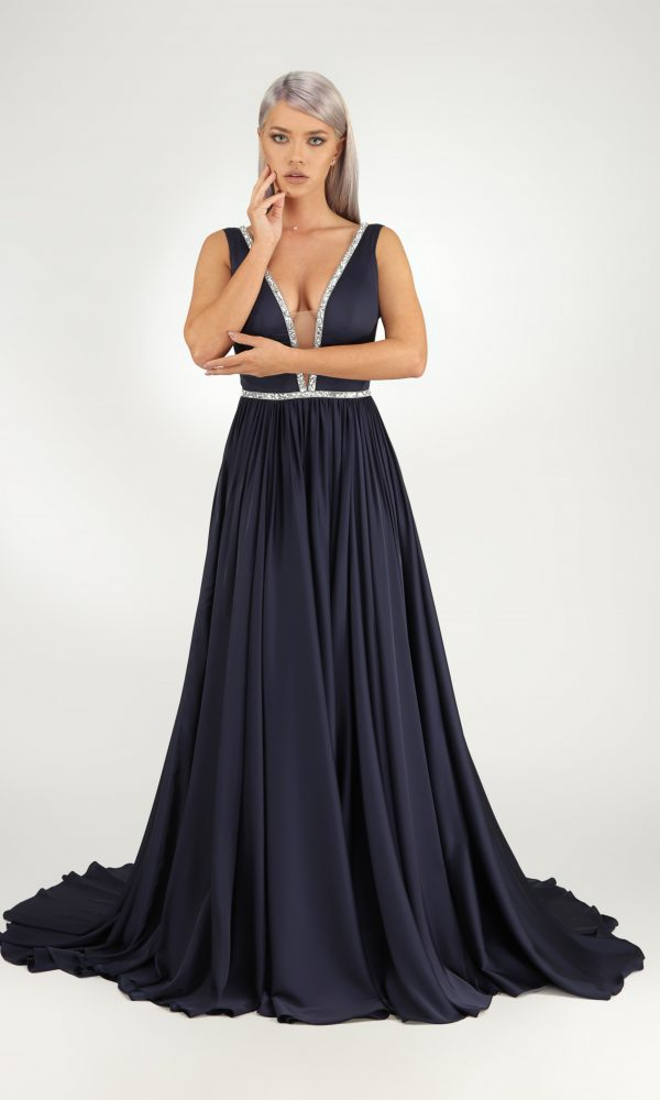 Filipa dress - Silk dress with deep cleavage in front and back. The deep neckline is secured with skin tone tulle. Hight slits