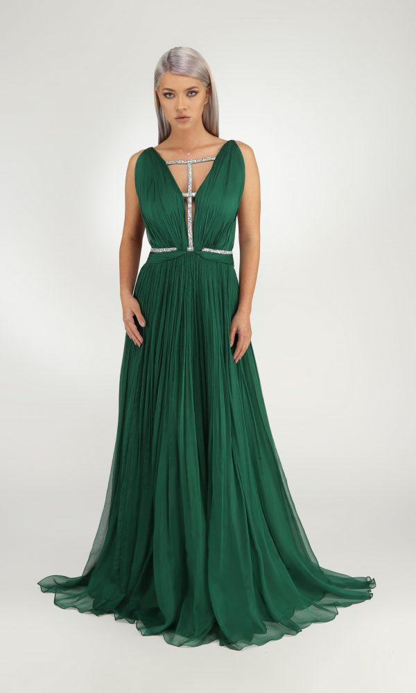 Jade dress - Muslin dress with hand-made folds. Top of the dress with deep cleavage in front and the back.