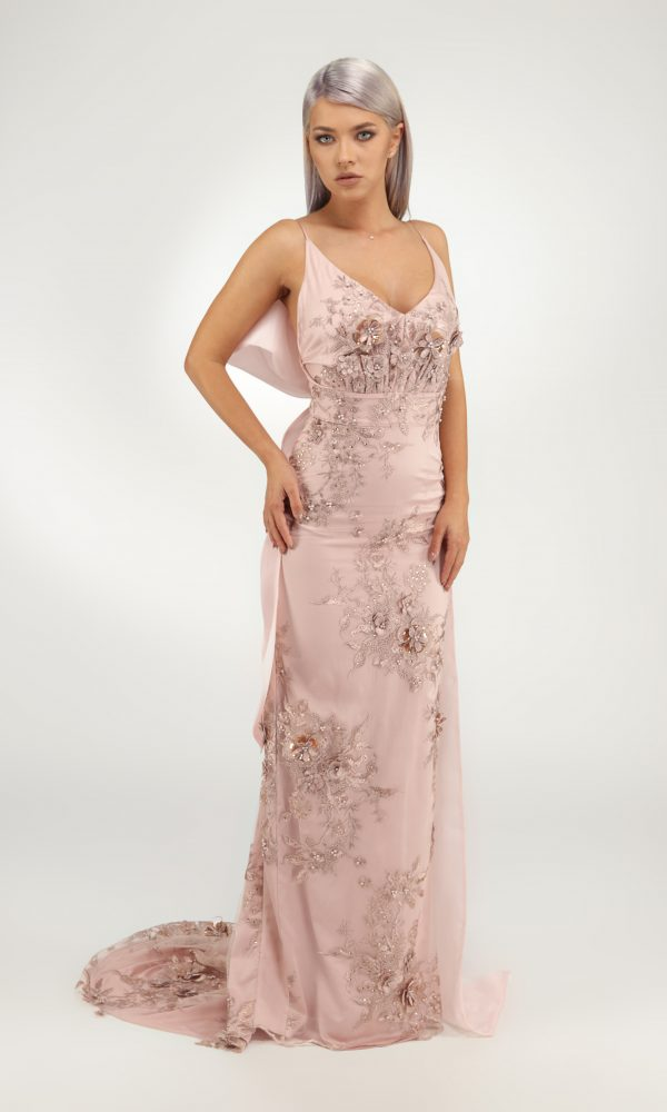 Medeea dress - Straight dress with tridimensional embroidery. Deep cleavage in front and the back.Organza bow detachable.