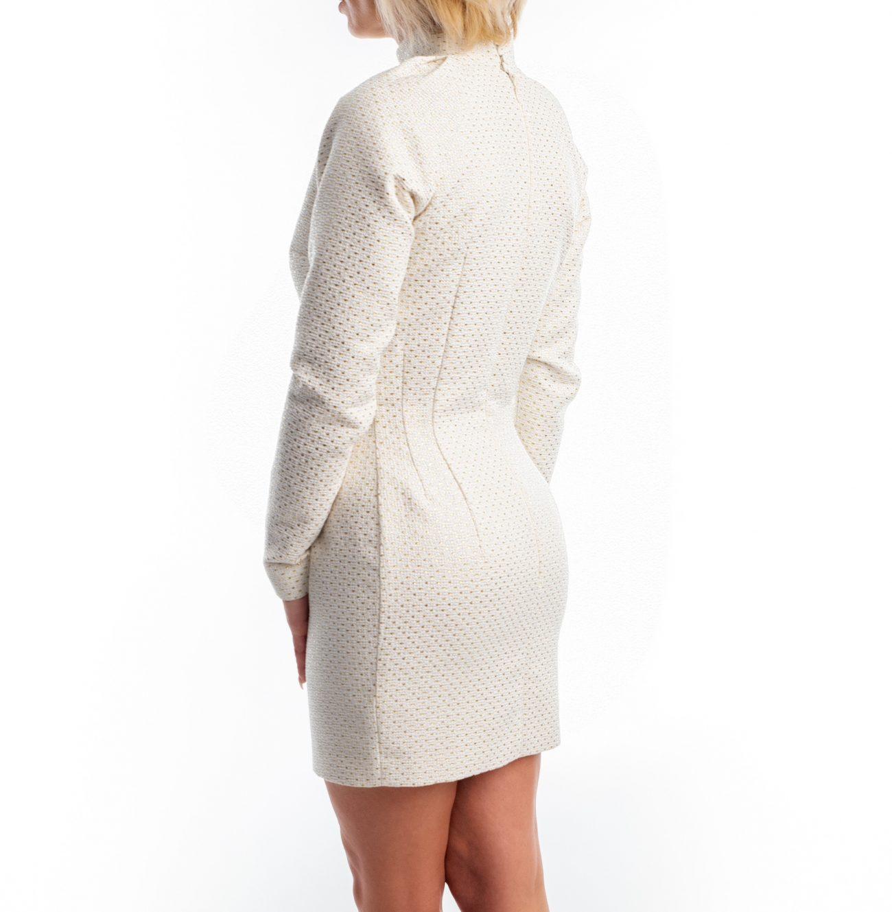 Rochie Eliza - rochie din brocard alb cu auriu | Essalian.com - Email: office@essalian.com | 0744957107 | Bucuresti