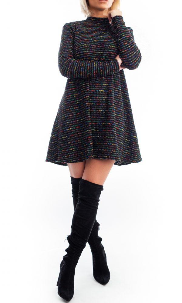Rochie Iustina - Rochie pe gat cu maneca lunga din tricot multicolor | Essalian.com - Email: office@essalian.com